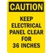 KEEP ELECTRIC PANEL AREA CLEAR FOR 36 INCHES